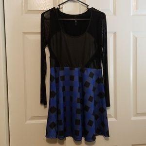 Tic Toc Long Sleeve Checkerd Pleather Dress
